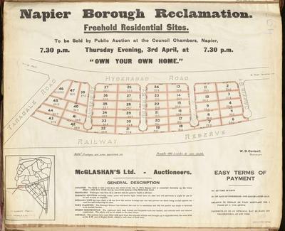Plan, Napier Borough reclamaition freehold residential sites for sale