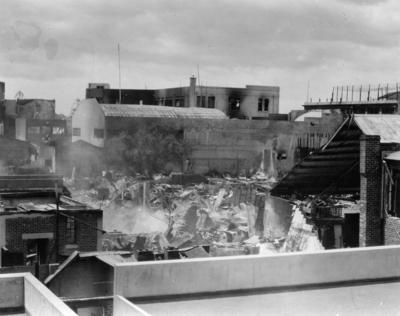 Damaged buildings, Napier; Moodie, Frank L