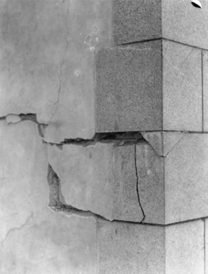 Damaged brickwork, Napier; Moodie, Frank L