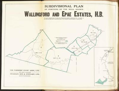 Plan, Walingford and Epae Estate land for sale; Mace, F E W