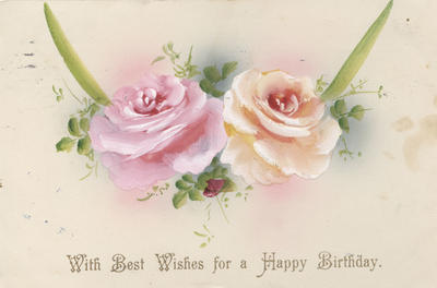 Birthday card, hand painted roses