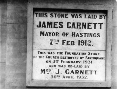Foundation stone, Hastings Methodist Church