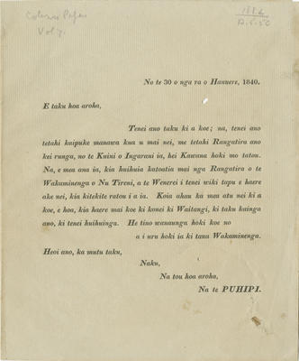 Letter, James Busby
