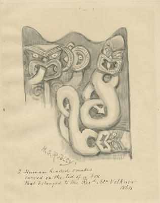 Two Human Headed Snakes Carved on the Lid of a Box; Robley, Horatio Gordon