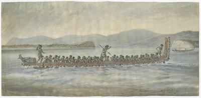 War canoe (Hine-Tapu), Bay of Plenty, Xmas 1864