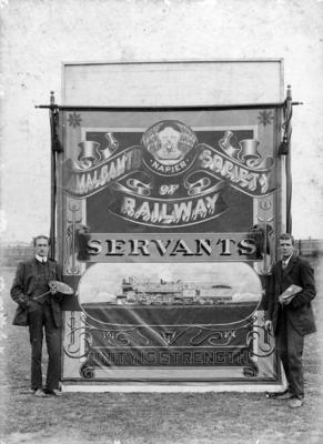 Samuel Charlton Weston with Napier Railways Banner