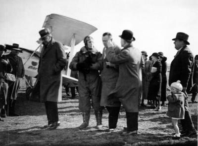 Jean Batten with the De Havilland Gipsy Moth G-AARB; Williams, David Godfrey