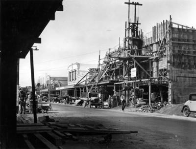 Rebuilding in Napier central business district; Hurst, Arthur Bendigo