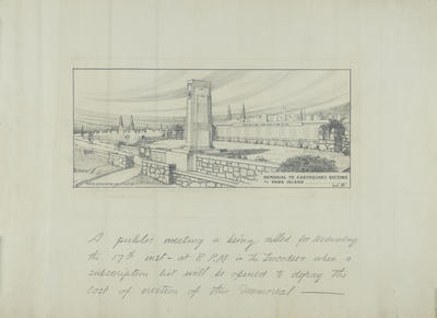 Architectural Plan, Memorial to Earthquake Victims at Park Island, Napier