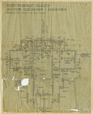 Architectural Plan, Mothers' Rest, Clive Square, Napier