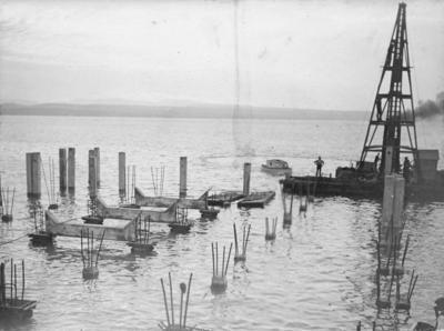 Napier Breakwater, under construction