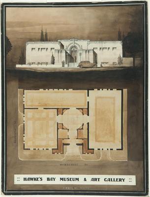 Architectural plan, Napier Art Gallery & Museum; Hay, James Augustus Louis