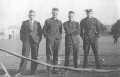 Four unidentified firemen; Lovell-Smith, Hubert John; 2012/3/18
