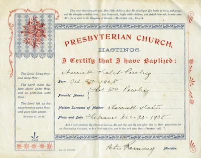 Certificate, Baptism Certificate, Harriett Violet Powley
