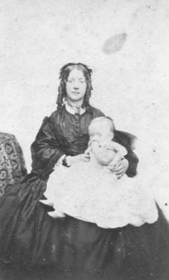 Portrait of an unidentified woman and child