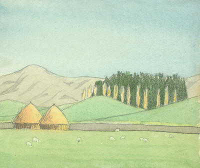 Untitled - two haystacks in a landscape
