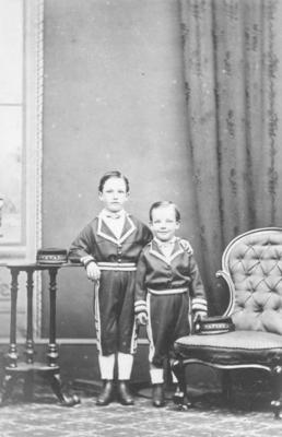 Portrait of two unidentified young boys
