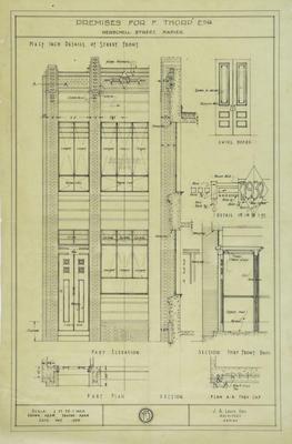 Architectural plan, F Thorp's shop, Herschell Street, Napier