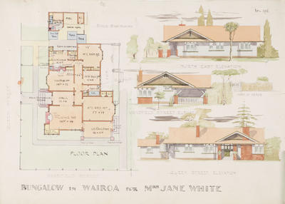 Architectural plan, Bungalow in Wairoa for Mrs Jane White