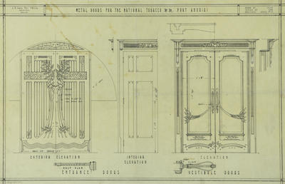 Architecture plan, Metal doors for the National Tobacco Company Limited, Port Ahuriri