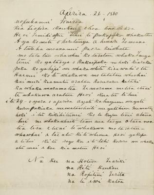 Letter, Hotere Te Ariki, Riti Kaukau, Ropitini Terita