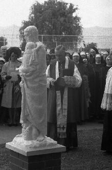 Bishop Sneddon blesses the statue of St. Joseph, a gift from past pupils of St. Joseph's Māori Girls' College