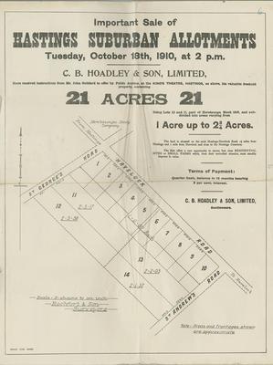 Map, Hastings Suburban Allotments