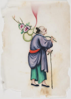 Untitled - man with a walking stick and flowers