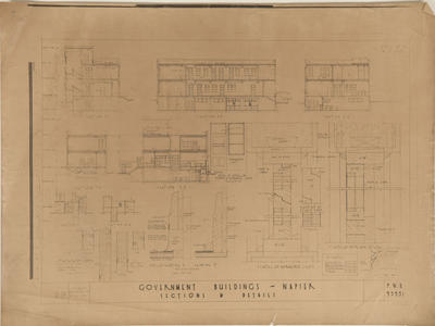 Architectural plan, Government Buildings, Napier; New Zealand Government; Mair, John