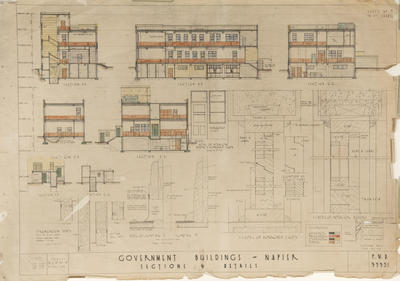 Architectural plan, Government Buildings, Napier; New Zealand Government
