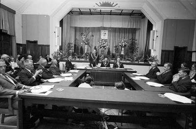 Councillors and mayors attend the final meeting of the Taradale Borough Council