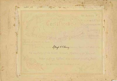 Certificate, Ye Ancient and Royal Society of King Fishes
