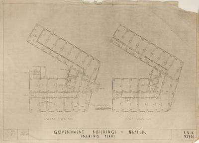 Architectural plan, Government Buildings, Napier; New Zealand Government; Public Works Architectural Branch; Mair, John