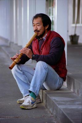Yoshi Tanaka playing the shakuhachi