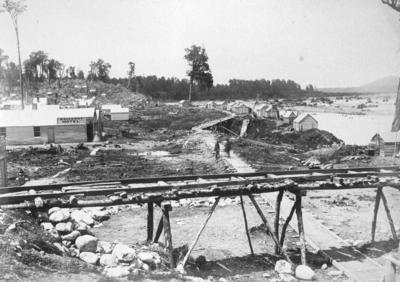 Diggings on Hokitika River, Kanieri, Westland