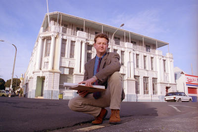 Richard Lysnar in front of the old Hawke's Bay County Council building in Browning Street