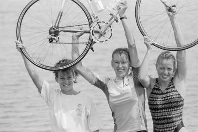 Hawke's Bay Multisport Club's champion women's team from left, Simone Morris, Lara Jamieson and Belinda Thrupp