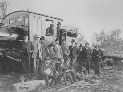 Group portrait with train